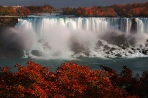 Red leaves in front of Niagara Falls