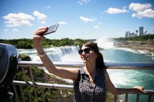 Taking selfie from Rainbow Bridge Niagara Falls