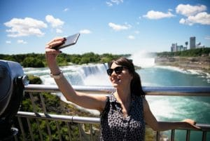 Taking selfie in front of Niagara Falls