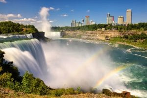 Niagara Falls with double rainbow