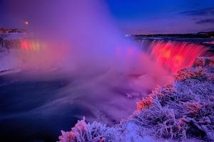 Niagara Falls illuminated in the Winter