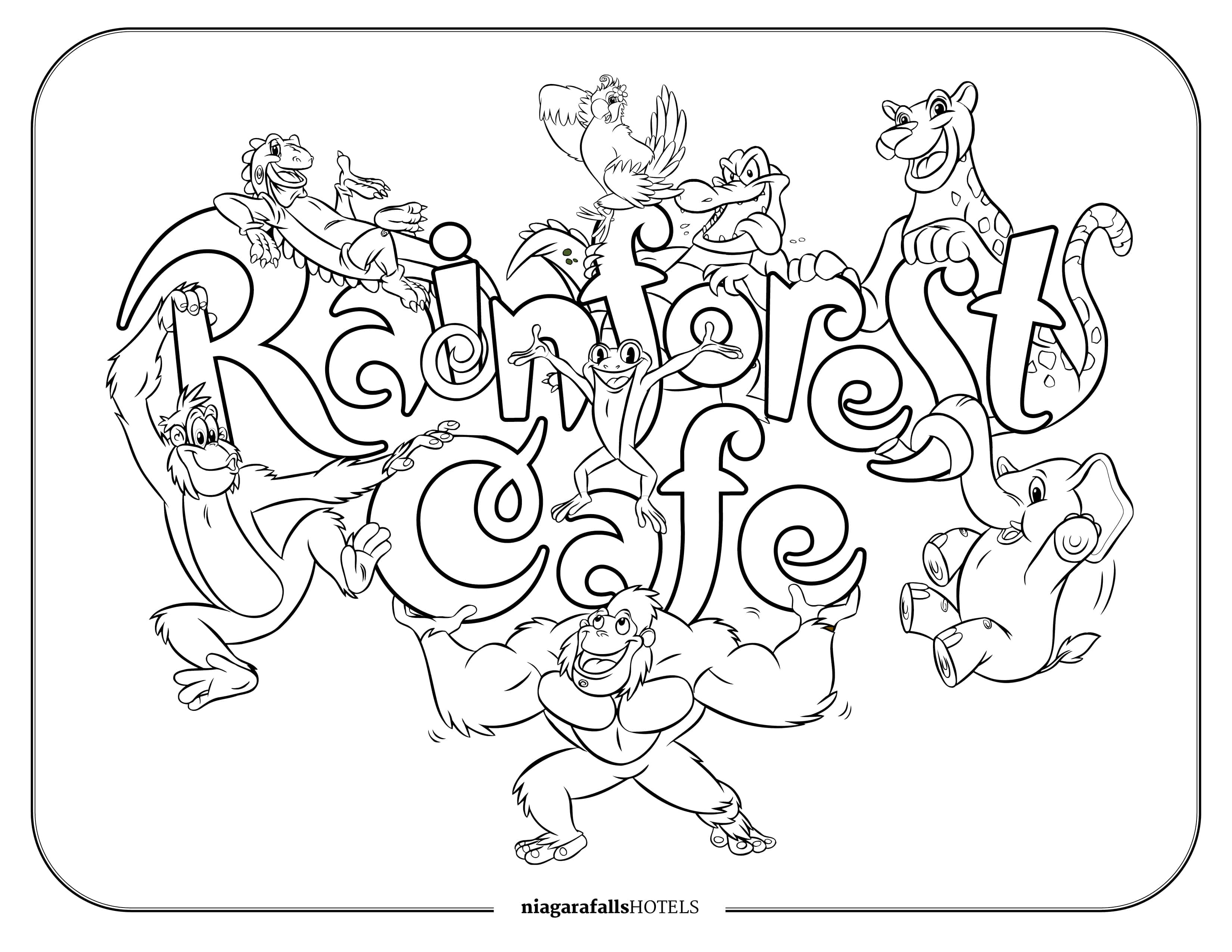 Rainforest Cafe Colouring Page