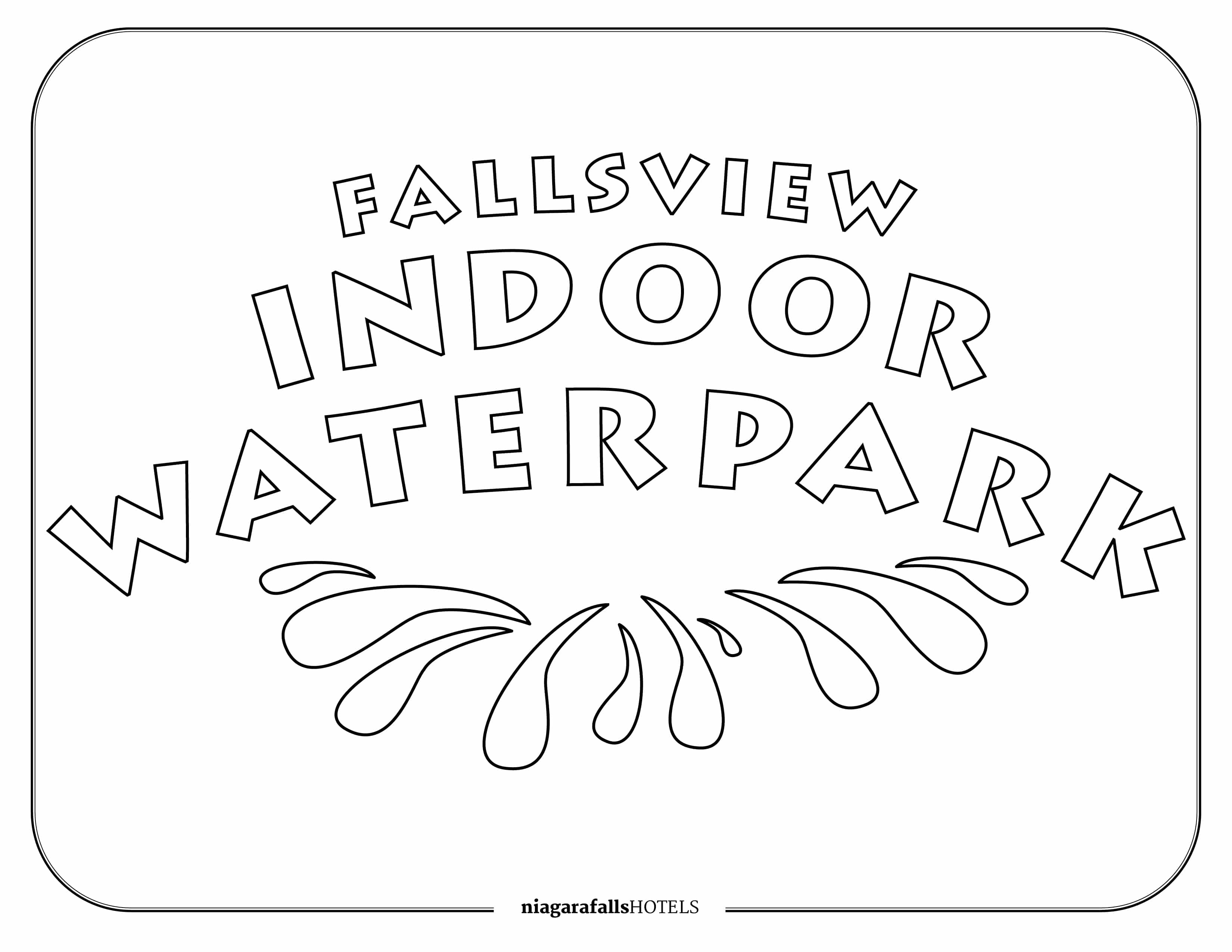 Fallsview Indoor Waterpark Colouring Page